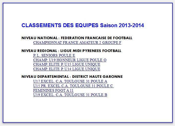 CLASSEMENTS DES EQUIPES Saison 2013-2014
