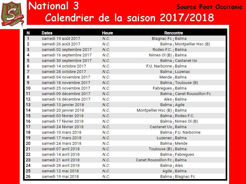 National 3 Foot Calendrier.Nat 3 Le Calendrier De La Saison Balma Sporting Club
